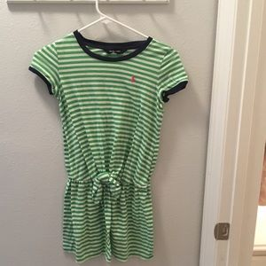 Ralph Lauren Green and White Striped Dress M💚